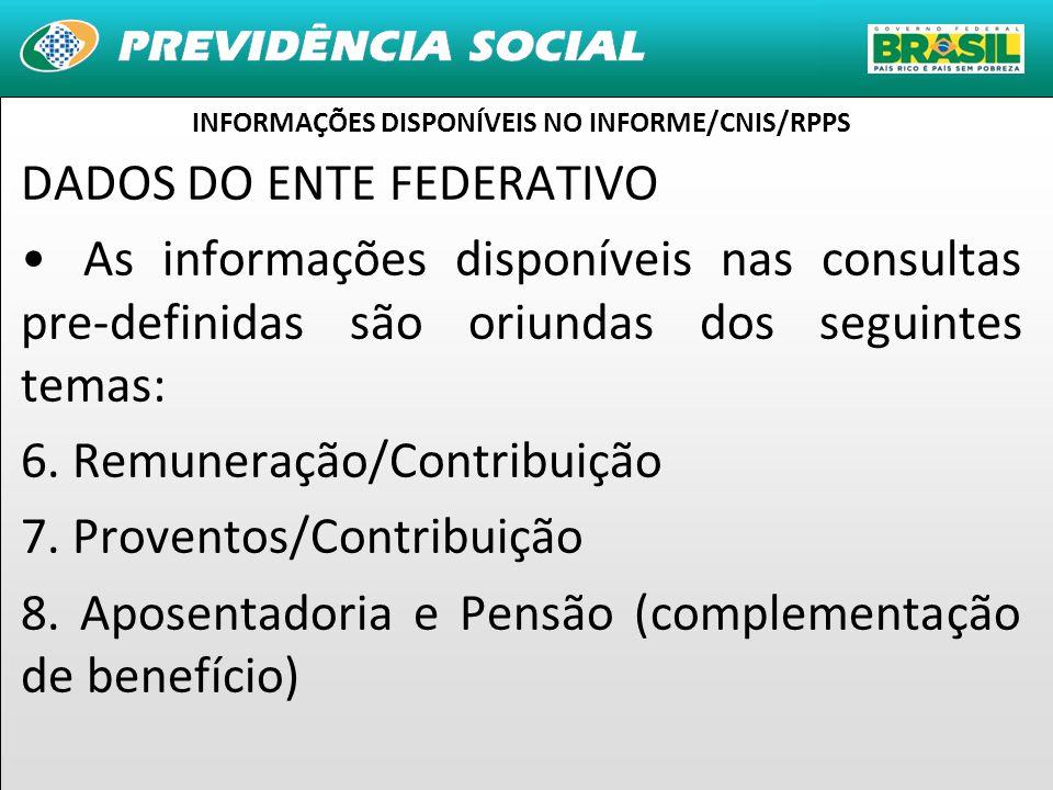 13 DADOS DO ENTE FEDERATIVO As informações disponíveis nas consultas pre-definidas são oriundas dos seguintes temas: 6.