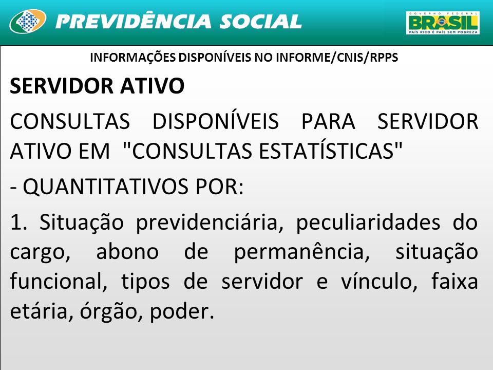 14 SERVIDOR ATIVO CONSULTAS DISPONÍVEIS PARA SERVIDOR ATIVO EM CONSULTAS ESTATÍSTICAS - QUANTITATIVOS POR: 1.