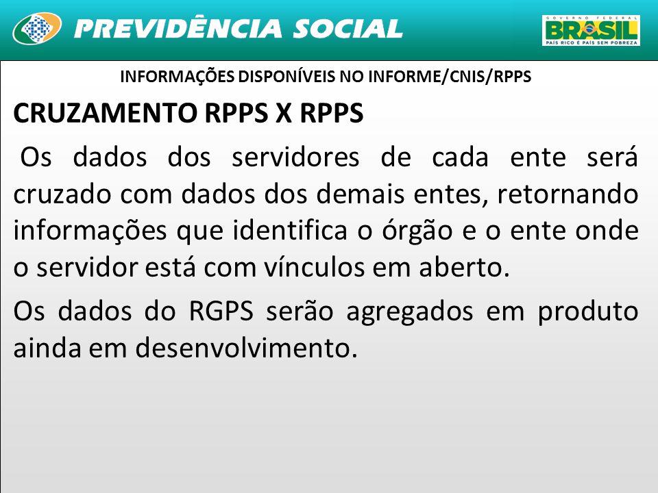 21 CRUZAMENTO RPPS X RPPS Os dados dos servidores de cada ente será cruzado com dados dos demais entes, retornando informações que identifica o órgão e o ente onde o servidor está com vínculos em aberto.