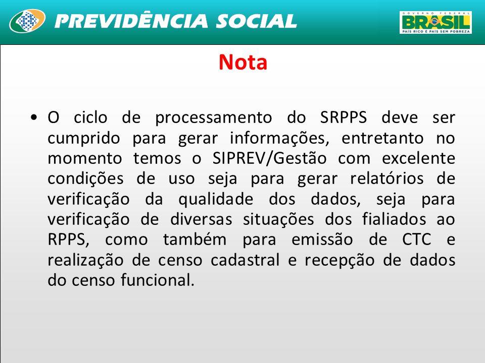 32 Nota Tem-se o CNIS/RPPS desenvolvido e instalado na DATAPREV, com segurança e boas condições de infraestrutura, requer atualizações constantes para alinhamento com as evoluções incorporadas ao CNIS/RPPS e INFORME/CNIS/RPPS.