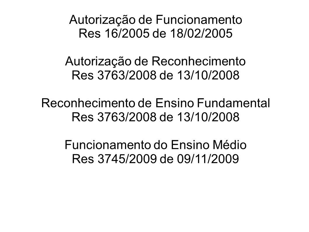 Autorização de Funcionamento Res 16/2005 de 18/02/2005 Autorização de Reconhecimento Res 3763/2008 de 13/10/2008 Reconhecimento de Ensino Fundamental Res 3763/2008 de 13/10/2008 Funcionamento do Ensino Médio Res 3745/2009 de 09/11/2009