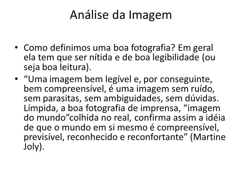 Análise da Imagem Como definimos uma boa fotografia? Em geral ela tem que ser nítida e de boa legibilidade (ou seja boa leitura). Uma imagem bem legív