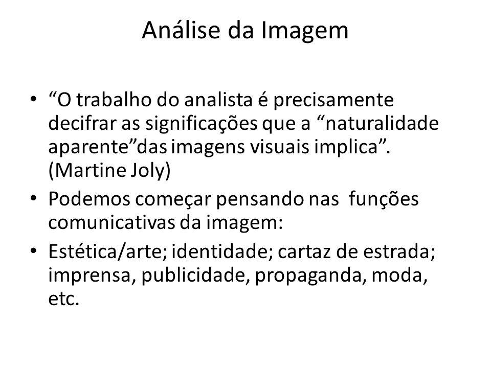 Análise da Imagem O trabalho do analista é precisamente decifrar as significações que a naturalidade aparentedas imagens visuais implica. (Martine Jol
