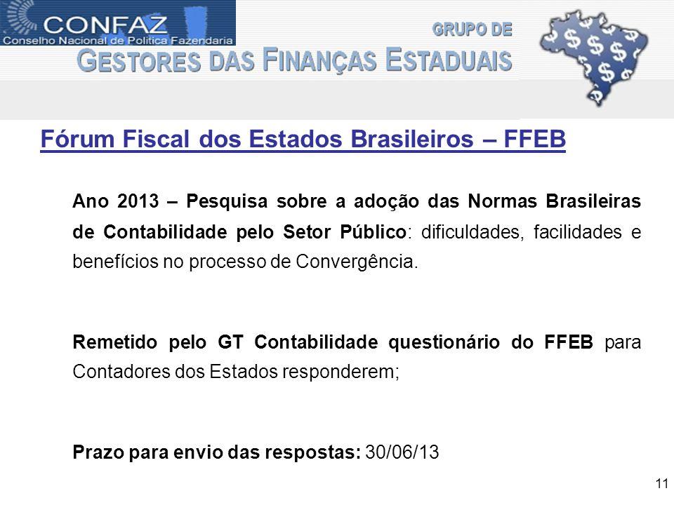 Fórum Fiscal dos Estados Brasileiros – FFEB 11 Ano 2013 – Pesquisa sobre a adoção das Normas Brasileiras de Contabilidade pelo Setor Público: dificuld