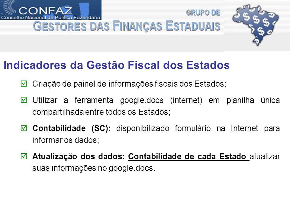 Indicadores da Gestão Fiscal dos Estados Criação de painel de informações fiscais dos Estados; Utilizar a ferramenta google.docs (internet) em planilh