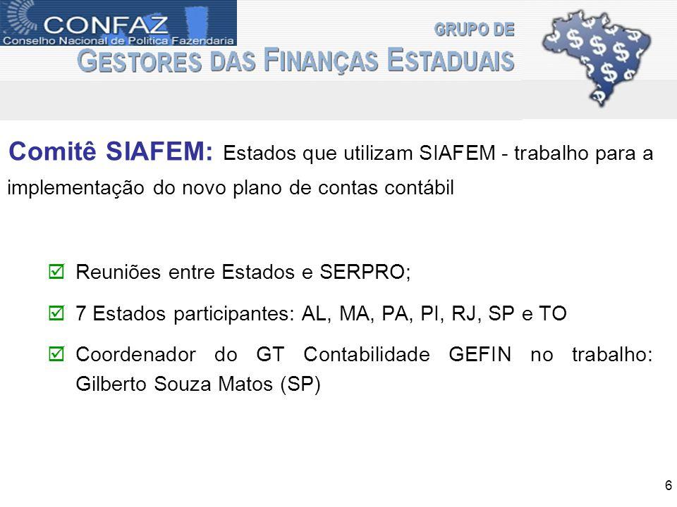 Comitê SIAFEM: Estados que utilizam SIAFEM - trabalho para a implementação do novo plano de contas contábil Reuniões entre Estados e SERPRO; 7 Estados