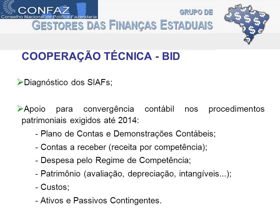 COOPERAÇÃO TÉCNICA - BID Diagnóstico dos SIAFs; Apoio para convergência contábil nos procedimentos patrimoniais exigidos até 2014: - Plano de Contas e