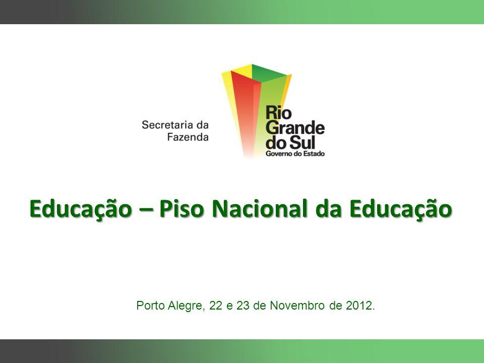 Educação – Piso Nacional da Educação Porto Alegre, 22 e 23 de Novembro de 2012.