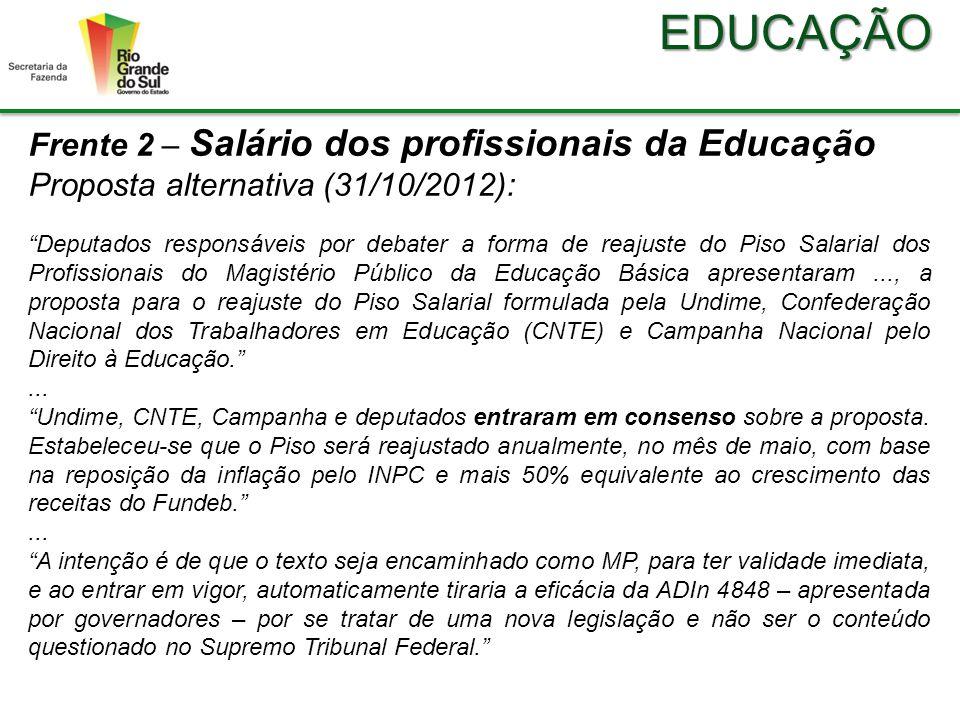 EDUCAÇÃO Frente 2 – Salário dos profissionais da Educação Proposta alternativa (31/10/2012): Deputados responsáveis por debater a forma de reajuste do