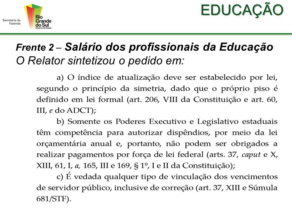 EDUCAÇÃO Frente 2 – Salário dos profissionais da Educação Em 13/11, o Relator proferiu decisão liminar, destacando os pontos:
