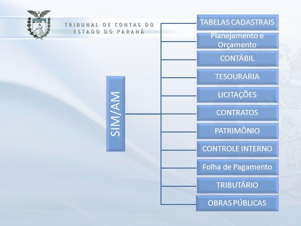 SIM/AM TABELAS CADASTRAIS Planejamento e Orçamento CONTÁBIL TESOURARIA LICITAÇÕES CONTRATOS PATRIMÔNIO CONTROLE INTERNO Folha de Pagamento TRIBUTÁRIO OBRAS PÚBLICAS