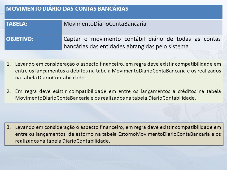 MOVIMENTO DIÁRIO DAS CONTAS BANCÁRIAS TABELA: MovimentoDiarioContaBancaria OBJETIVO:Captar o movimento contábil diário de todas as contas bancárias das entidades abrangidas pelo sistema.
