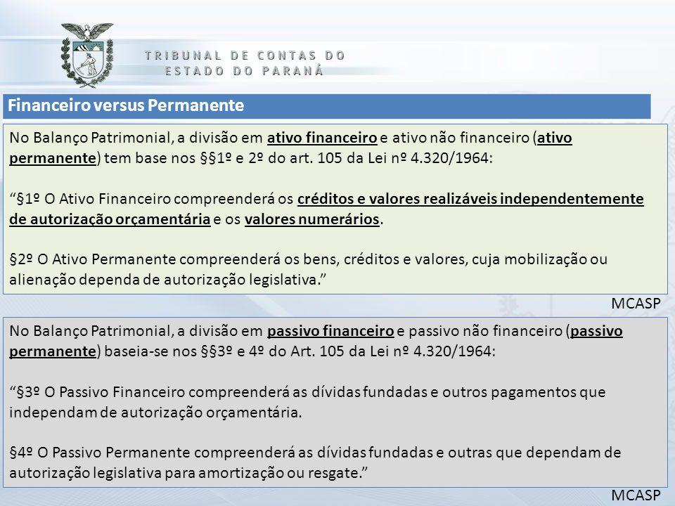 Financeiro versus Permanente No Balanço Patrimonial, a divisão em ativo financeiro e ativo não financeiro (ativo permanente) tem base nos §§1º e 2º do art.