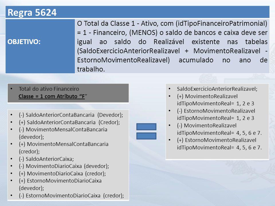 Regra 5624 OBJETIVO: O Total da Classe 1 - Ativo, com (idTipoFinanceiroPatrimonial) = 1 - Financeiro, (MENOS) o saldo de bancos e caixa deve ser igual ao saldo do Realizável existente nas tabelas (SaldoExercicioAnteriorRealizavel + MovimentoRealizavel - EstornoMovimentoRealizavel) acumulado no ano de trabalho.