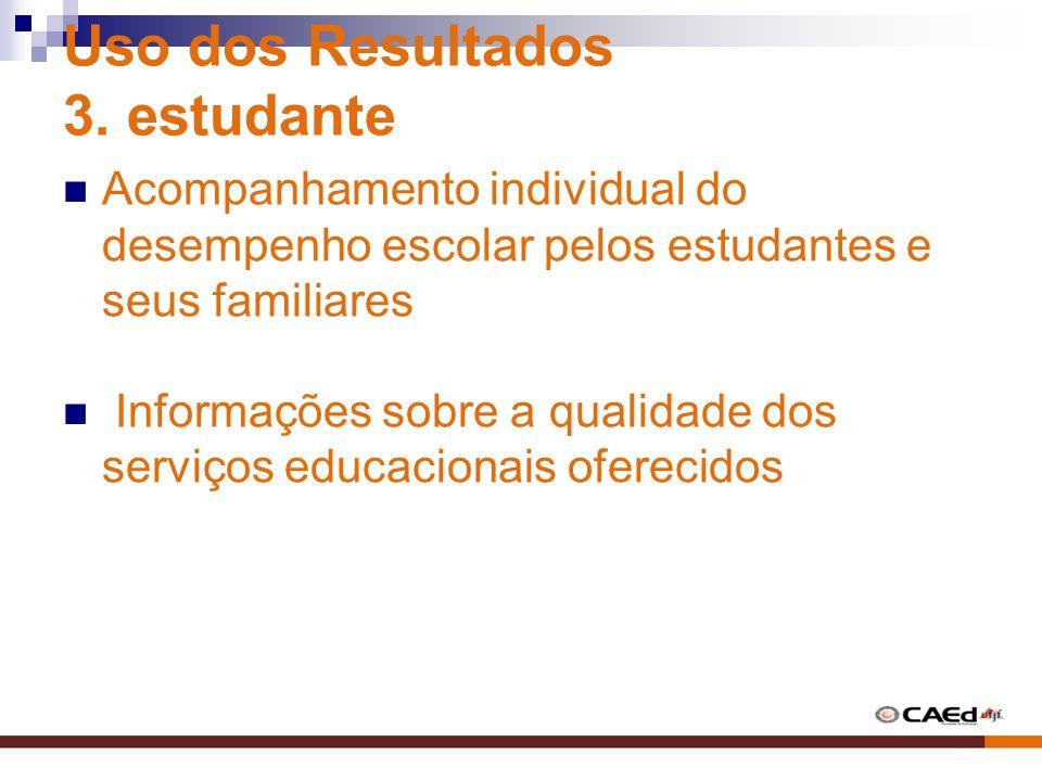 Uso dos Resultados 3. estudante Acompanhamento individual do desempenho escolar pelos estudantes e seus familiares Informações sobre a qualidade dos s