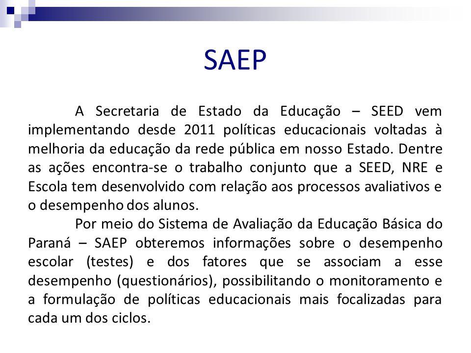 SAEP A Secretaria de Estado da Educação – SEED vem implementando desde 2011 políticas educacionais voltadas à melhoria da educação da rede pública em