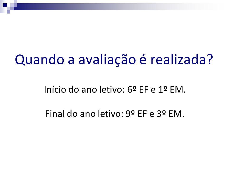 Quando a avaliação é realizada? Início do ano letivo: 6º EF e 1º EM. Final do ano letivo: 9º EF e 3º EM.
