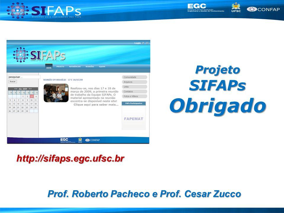 Projeto SIFAPs Obrigado Prof. Roberto Pacheco e Prof. Cesar Zucco http://sifaps.egc.ufsc.br