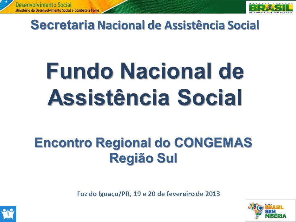 Fundo Nacional de Assistência Social Secretaria Nacional de Assistência Social Foz do Iguaçu/PR, 19 e 20 de fevereiro de 2013 Encontro Regional do CON