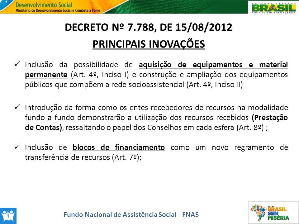 DECRETO Nº 7.788, DE 15/08/2012 PRINCIPAIS INOVAÇÕES Inclusão da possibilidade de aquisição de equipamentos e material permanente (Art. 4º, Inciso I)