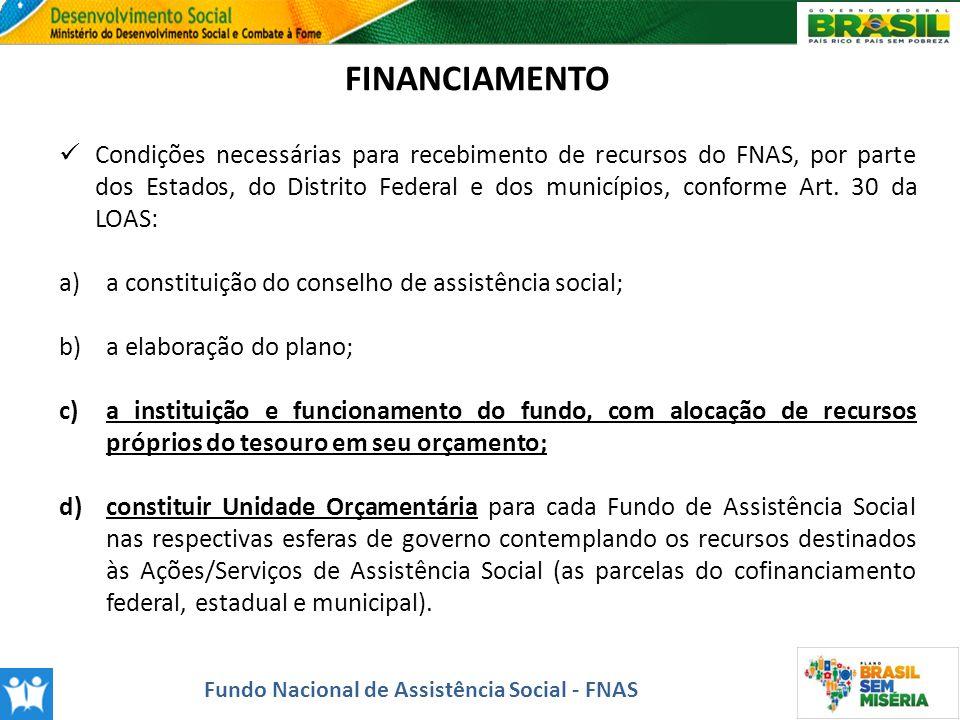 FINANCIAMENTO Condições necessárias para recebimento de recursos do FNAS, por parte dos Estados, do Distrito Federal e dos municípios, conforme Art. 3