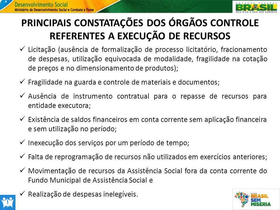 PRINCIPAIS CONSTATAÇÕES DOS ÓRGÃOS CONTROLE REFERENTES A EXECUÇÃO DE RECURSOS Licitação (ausência de formalização de processo licitatório, fracionamen