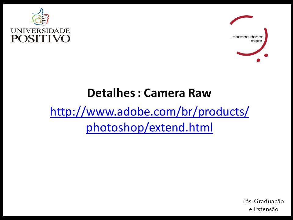 Pós-Graduação e Extensão Detalhes : Camera Raw http://www.adobe.com/br/products/ photoshop/extend.html