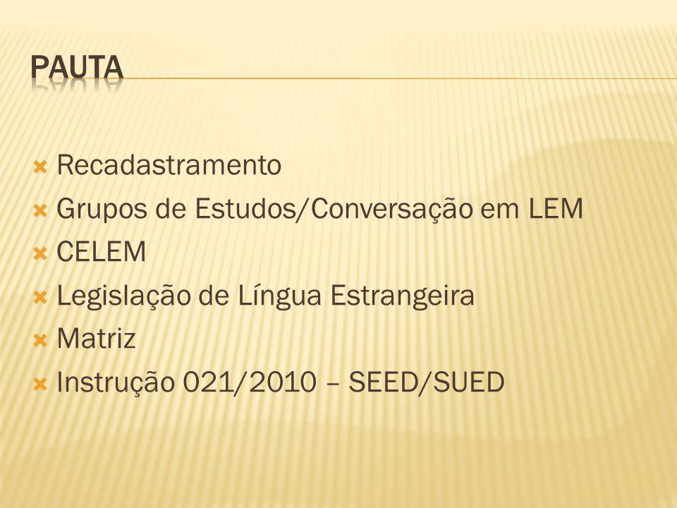 Recadastramento Grupos de Estudos/Conversação em LEM CELEM Legislação de Língua Estrangeira Matriz Instrução 021/2010 – SEED/SUED