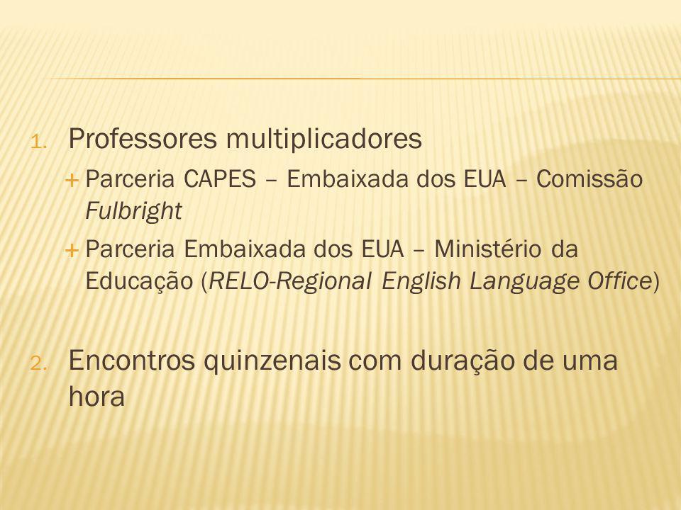 1. Professores multiplicadores Parceria CAPES – Embaixada dos EUA – Comissão Fulbright Parceria Embaixada dos EUA – Ministério da Educação (RELO-Regio