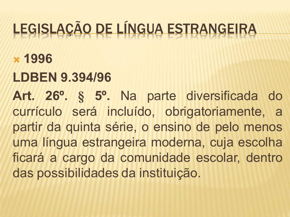 1996 LDBEN 9.394/96 Art. 26º. § 5º. Na parte diversificada do currículo será incluído, obrigatoriamente, a partir da quinta série, o ensino de pelo me