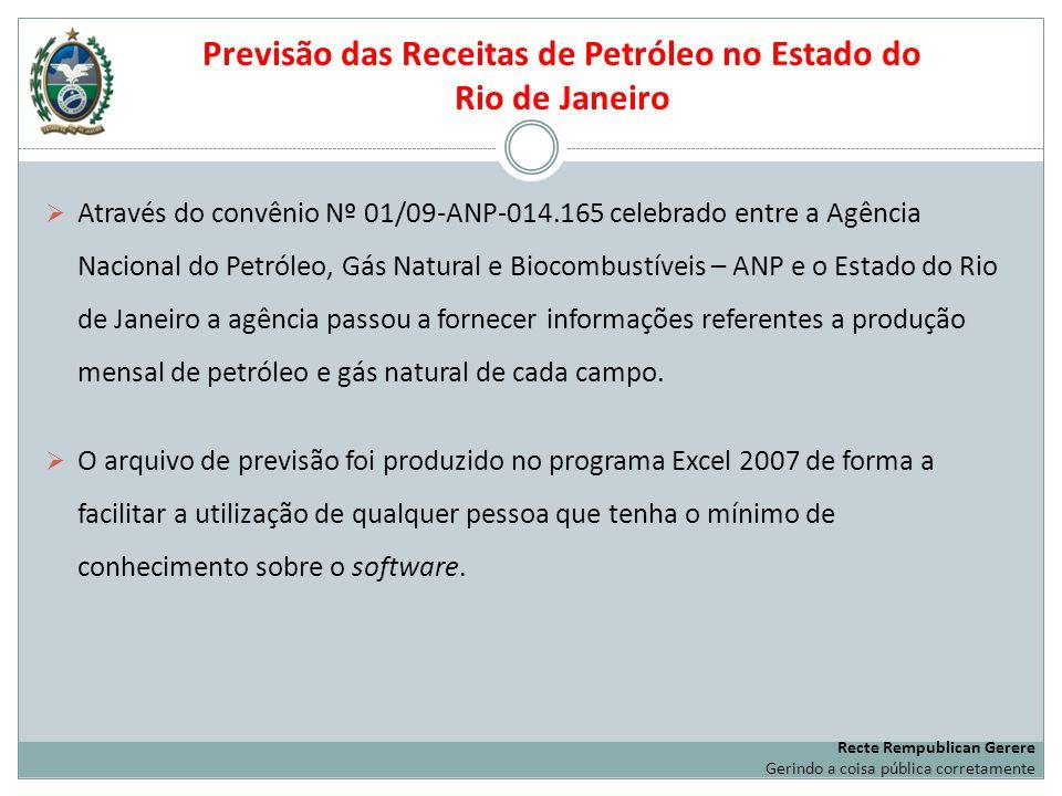 Previsão das Receitas de Petróleo no Estado do Rio de Janeiro Através do convênio Nº 01/09-ANP-014.165 celebrado entre a Agência Nacional do Petróleo,