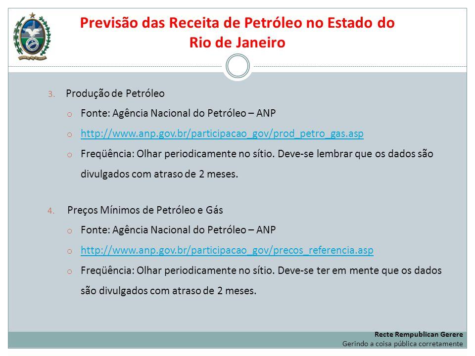 3. Produção de Petróleo o Fonte: Agência Nacional do Petróleo – ANP o http://www.anp.gov.br/participacao_gov/prod_petro_gas.asp http://www.anp.gov.br/