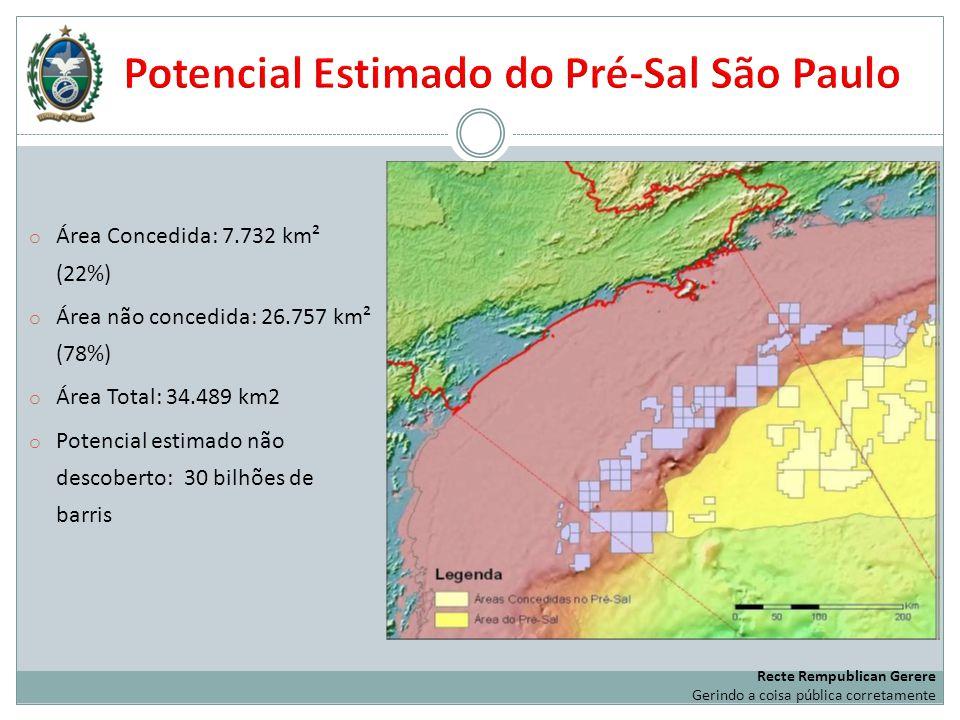 o Área Concedida: 7.732 km² (22%) o Área não concedida: 26.757 km² (78%) o Área Total: 34.489 km2 o Potencial estimado não descoberto: 30 bilhões de b