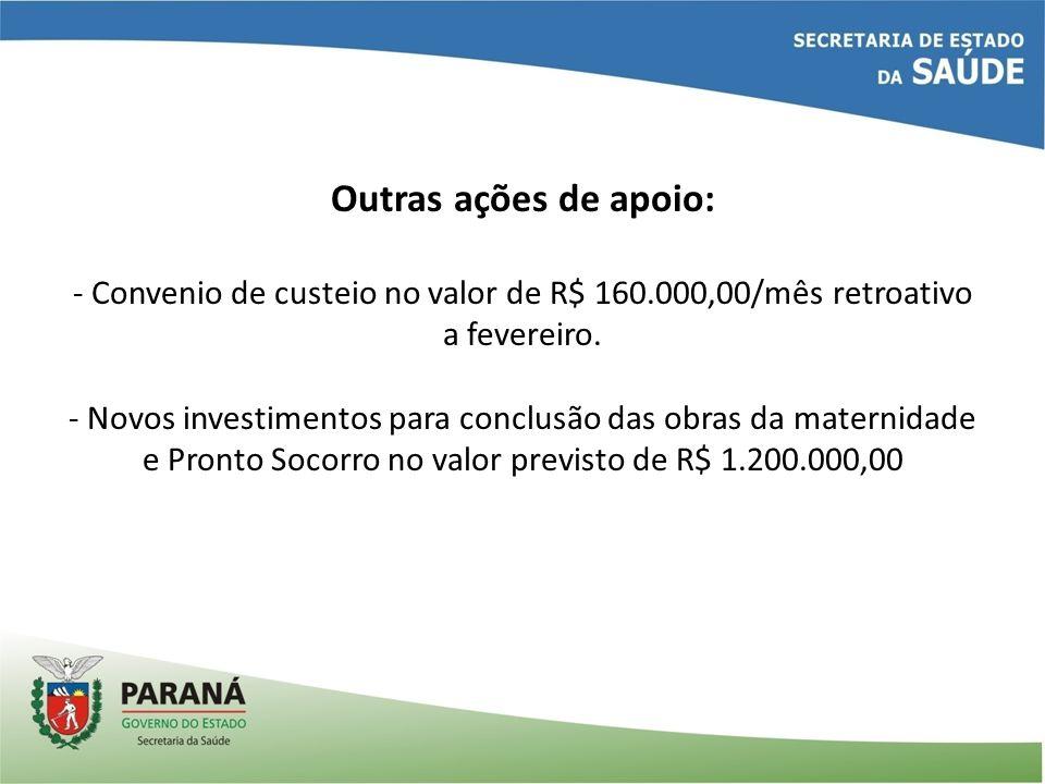 Outras ações de apoio: - Convenio de custeio no valor de R$ 160.000,00/mês retroativo a fevereiro.