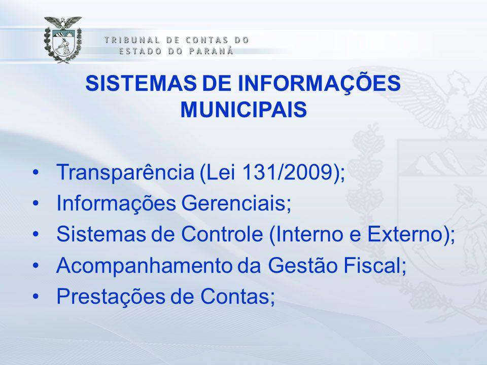 SISTEMAS DE INFORMAÇÕES MUNICIPAIS Transparência (Lei 131/2009); Informações Gerenciais; Sistemas de Controle (Interno e Externo); Acompanhamento da G