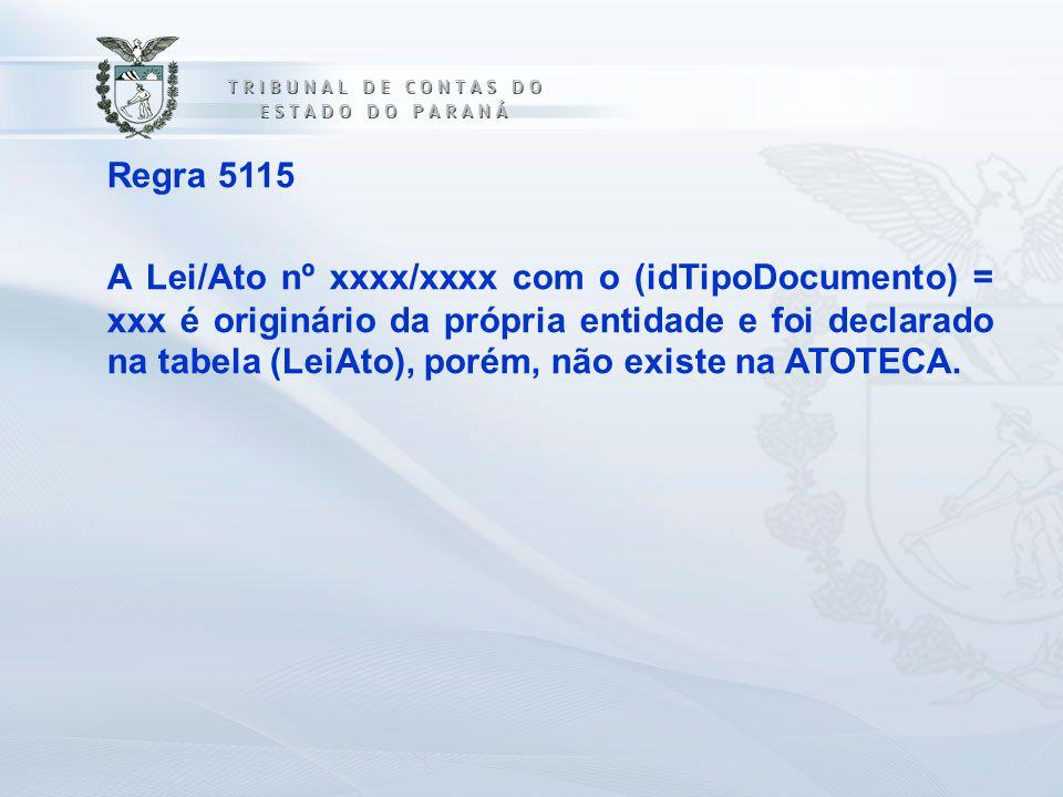 Regra 5115 A Lei/Ato nº xxxx/xxxx com o (idTipoDocumento) = xxx é originário da própria entidade e foi declarado na tabela (LeiAto), porém, não existe