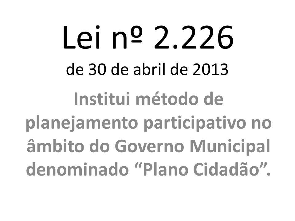 Lei nº 2.226 de 30 de abril de 2013 Institui método de planejamento participativo no âmbito do Governo Municipal denominado Plano Cidadão.