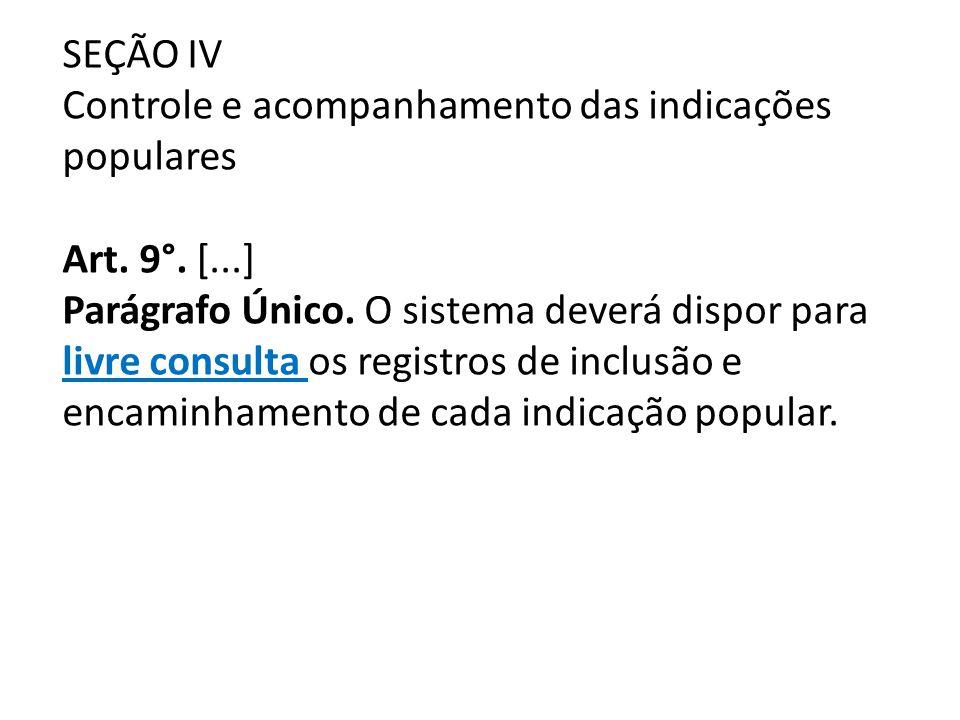 SEÇÃO IV Controle e acompanhamento das indicações populares Art. 9°. [...] Parágrafo Único. O sistema deverá dispor para livre consulta os registros d