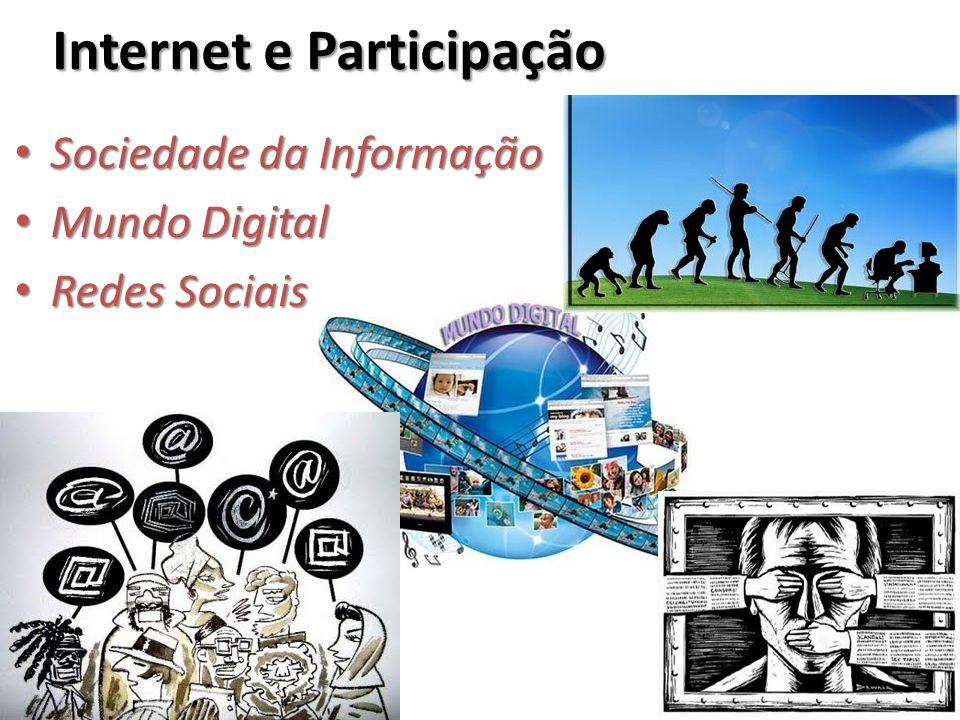 Internet e Participação Sociedade da Informação Sociedade da Informação Mundo Digital Mundo Digital Redes Sociais Redes Sociais