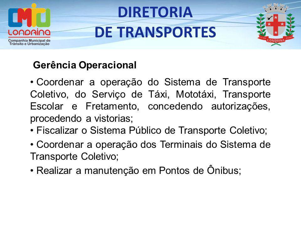 Gerência Operacional Coordenar a operação do Sistema de Transporte Coletivo, do Serviço de Táxi, Mototáxi, Transporte Escolar e Fretamento, concedendo