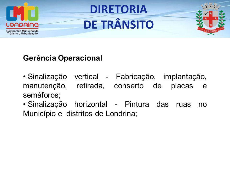DIRETORIA DE TRÂNSITO Gerência Operacional Sinalização vertical - Fabricação, implantação, manutenção, retirada, conserto de placas e semáforos; Sinal