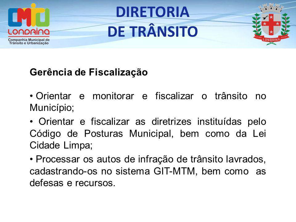 DIRETORIA DE TRÂNSITO Gerência de Fiscalização Orientar e monitorar e fiscalizar o trânsito no Município; Orientar e fiscalizar as diretrizes instituí
