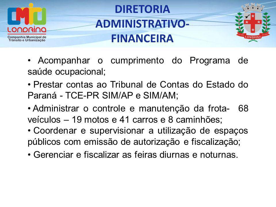 Acompanhar o cumprimento do Programa de saúde ocupacional; Prestar contas ao Tribunal de Contas do Estado do Paraná - TCE-PR SIM/AP e SIM/AM; Administ