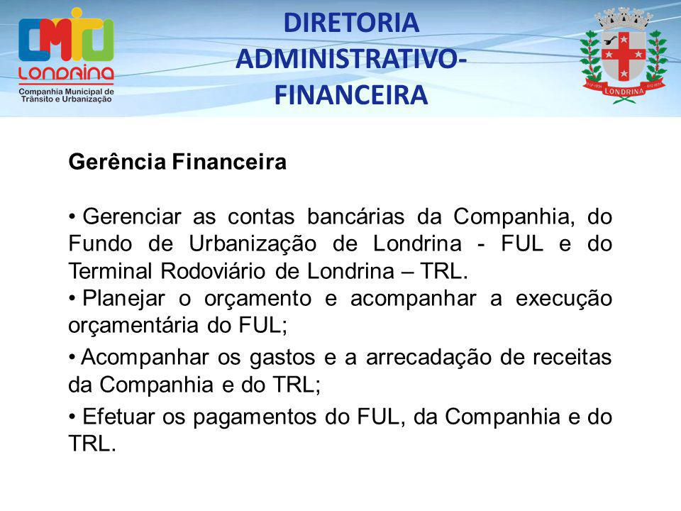 Gerência Financeira Gerenciar as contas bancárias da Companhia, do Fundo de Urbanização de Londrina - FUL e do Terminal Rodoviário de Londrina – TRL.