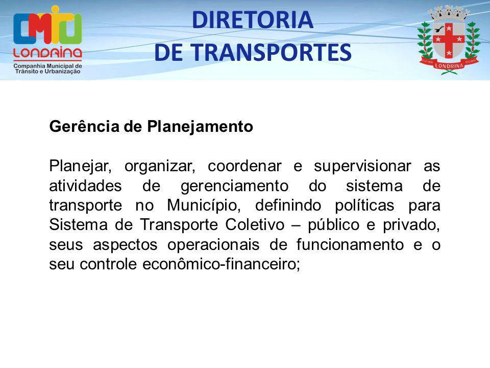 Gerência de Planejamento Planejar, organizar, coordenar e supervisionar as atividades de gerenciamento do sistema de transporte no Município, definind
