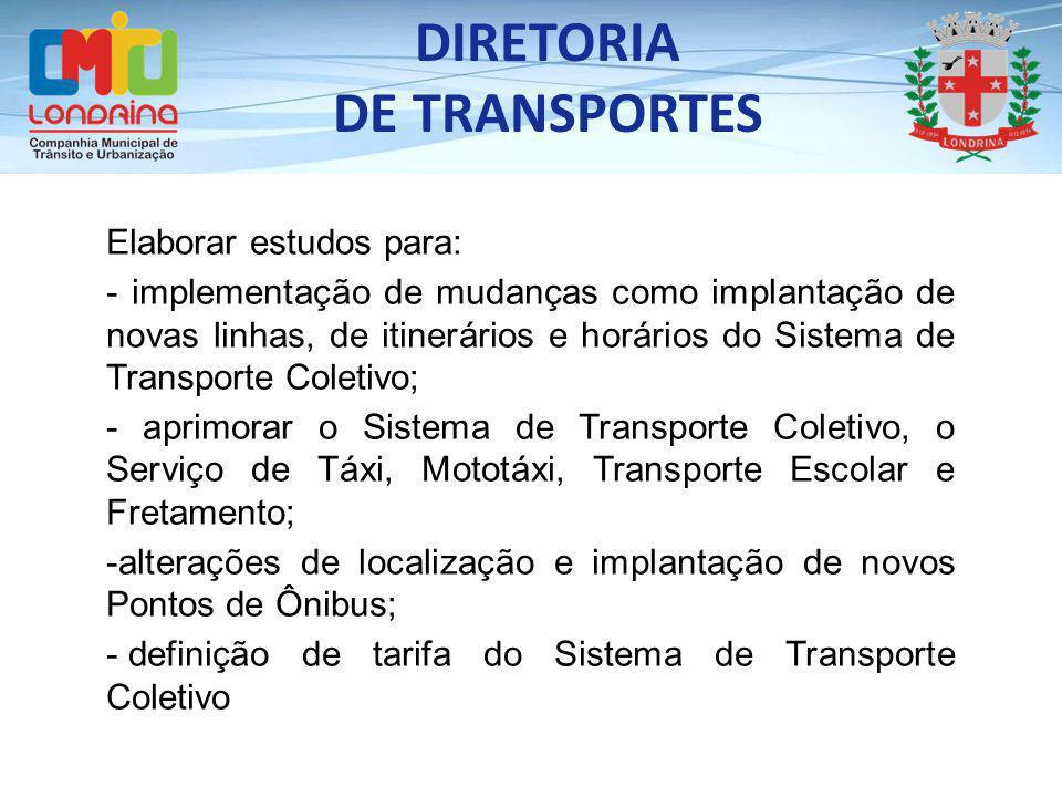 Elaborar estudos para: - implementação de mudanças como implantação de novas linhas, de itinerários e horários do Sistema de Transporte Coletivo; - ap