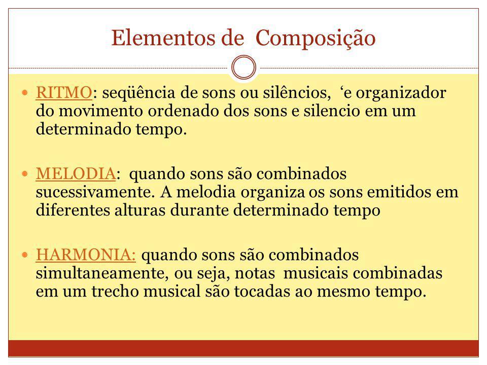 Elementos de Composição RITMO: seqüência de sons ou silêncios, e organizador do movimento ordenado dos sons e silencio em um determinado tempo.