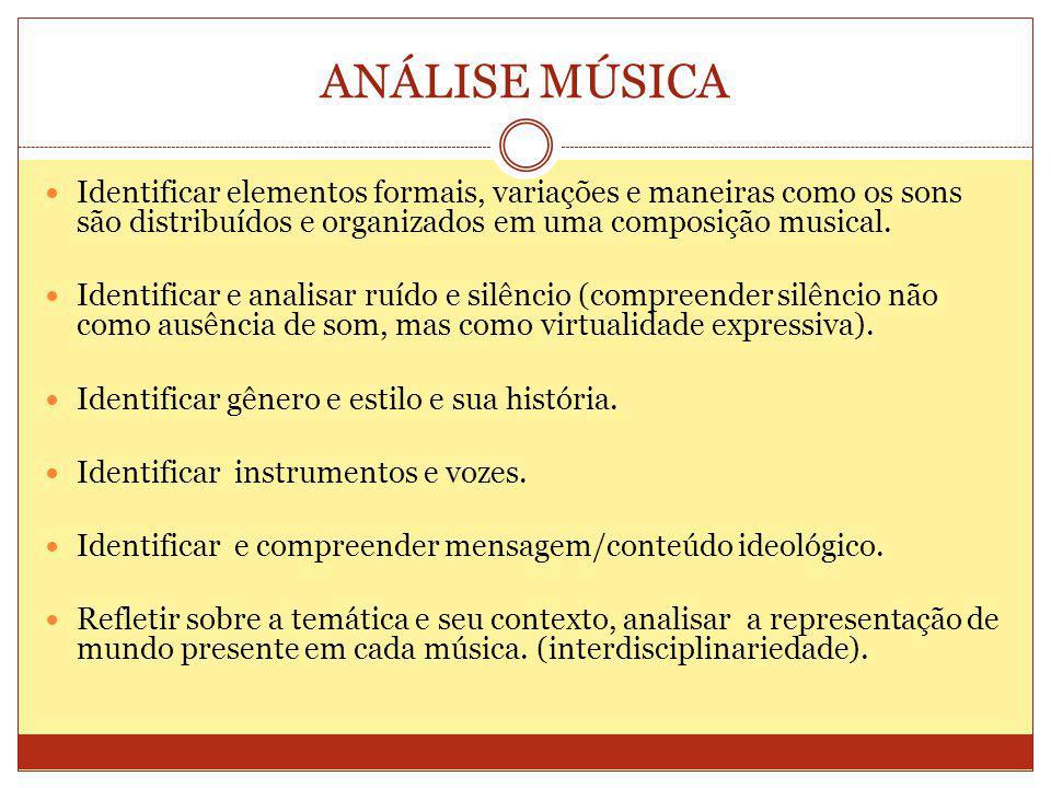 ANÁLISE MÚSICA Identificar elementos formais, variações e maneiras como os sons são distribuídos e organizados em uma composição musical.