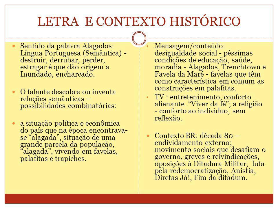 LETRA E CONTEXTO HISTÓRICO Sentido da palavra Alagados: Língua Portuguesa (Semântica) - destruir, derrubar, perder, estragar é que dão origem a Inundado, encharcado.