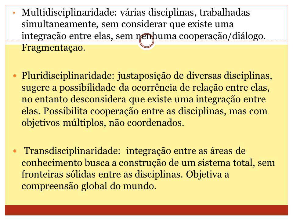 Multidisciplinaridade: várias disciplinas, trabalhadas simultaneamente, sem considerar que existe uma integração entre elas, sem nenhuma cooperação/diálogo.